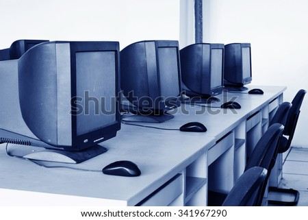Computer Lab,Neatly placed rows of computer. - stock photo