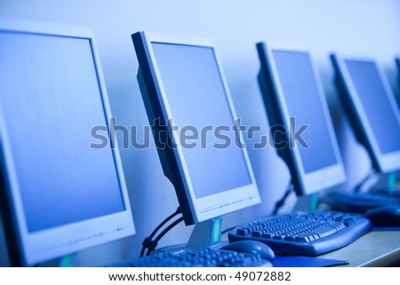 computer lab, small depth sharpness, can be used as background - stock photo