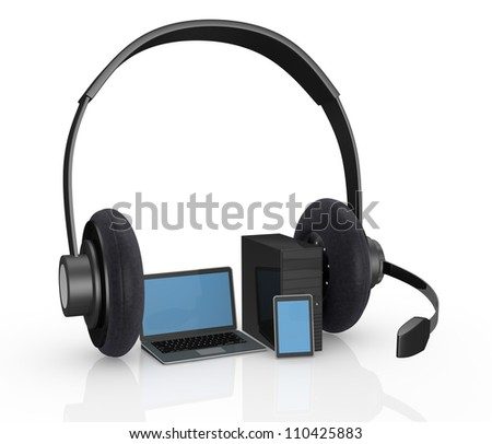 computer, laptop and a tablet with big headphones, concept of help desk or online communications (3d render)