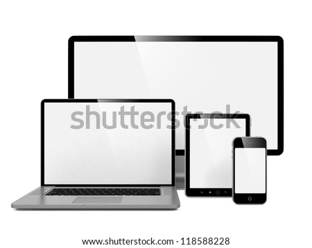 Computer, Laptop and Phone. Set of Computer Devices. - stock photo