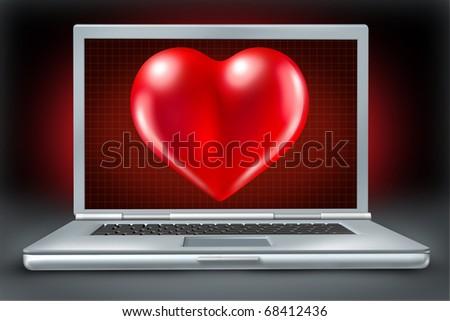 Computer laptop Healthcare And Medicine Doctor nurse symbol heart - stock photo