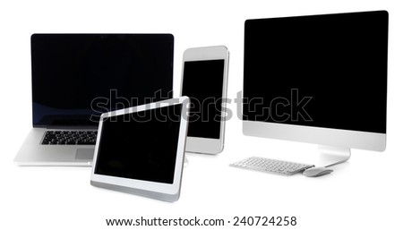 Computer, laptop, tablet and phone in collage isolated on white - stock photo