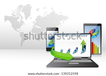 Computer, Laptop Tablet and Phone with business graphs. background - stock photo