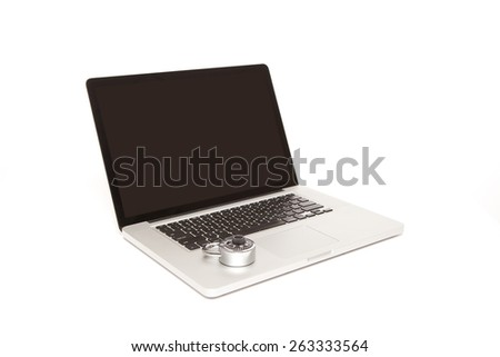 Computer laptop with padlock on white background - stock photo
