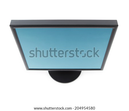 Computer LCD flat panel monitor top view, isolated on white.  - stock photo