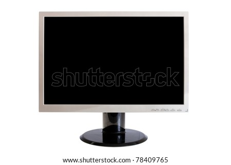 Computer LCD  monitor, isolated on white, clipping paths included - stock photo
