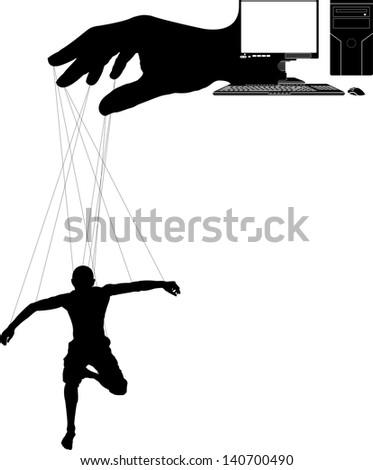 computer marionette. second variant. raster variant - stock photo