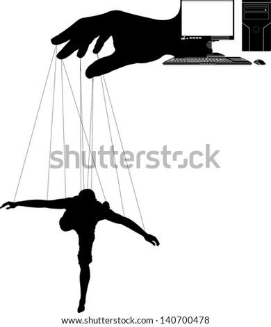computer marionette. third variant. raster variant - stock photo
