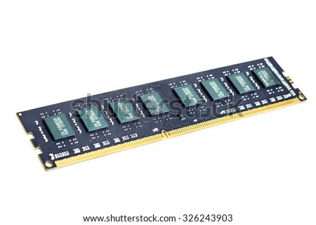 Computer memory bank DDR3  on white background.