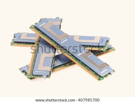 Computer memory modules on the white background - stock photo