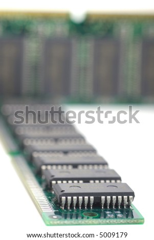 Computer memory sticks with white background