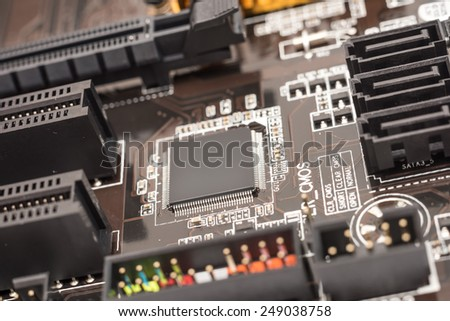 Computer Micro Chipset Circuit Board Close Up - stock photo
