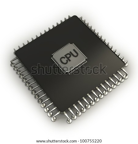 Computer microchip CPU. Icon 3D. isolated on white background - stock photo