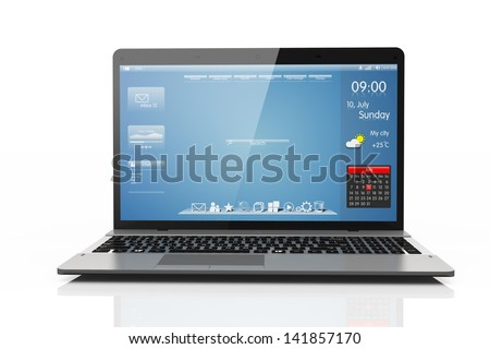 Computer mobility isolated white background