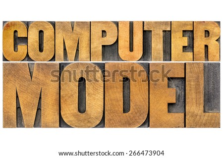 computer model typography - science or research concept -  isolated word abstract in letterpress wood type