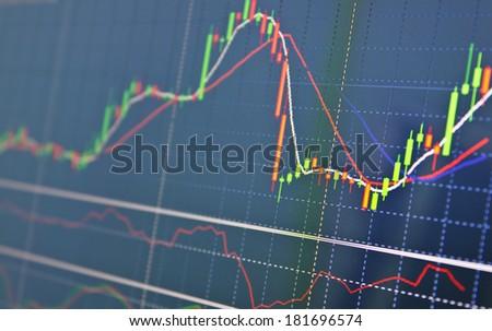 Computer money graph - stock photo