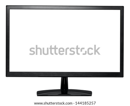 Computer monitor front view, blank widescreen lcd display isolated on white