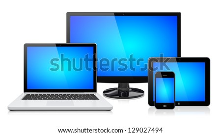 Computer monitor, laptop, tablet pc,  and mobile smartphone with a blue screen. Isolated on a white. 3d image 	 - stock photo