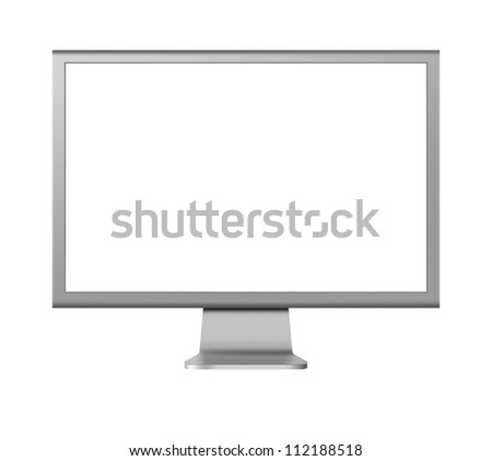 computer monitor LCD with blank screen on white background - stock photo