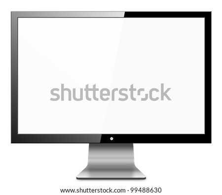 Computer Monitor, like appled with blank white screen. Isolated on white background. - stock photo