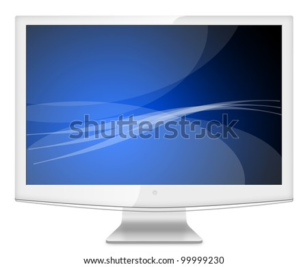Computer Monitor, like appled with blue screen. Isolated on white background. - stock photo
