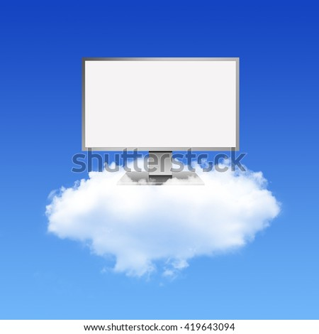 Computer Monitor on Cloud Computing Network - stock photo