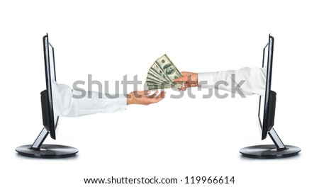 Computer monitor on white background. Hands stretching a US dollar note - stock photo
