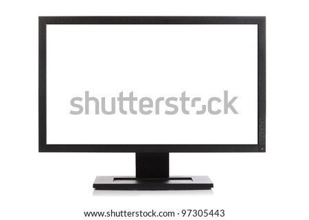 Computer monitor or Widescreen HD television isolated on white with blank screen