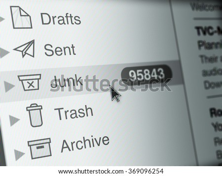 Computer Monitor screen, concept of spam email - stock photo