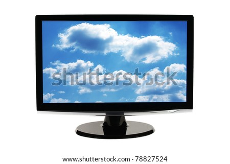 Computer monitor screen isolated on white background with clipping path (easy to remove sky)