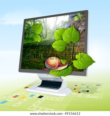 computer monitor showing snail and leafs