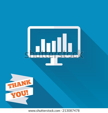 Computer monitor sign icon. Market monitoring. White flat icon with long shadow. Paper ribbon label with Thank you text. - stock photo