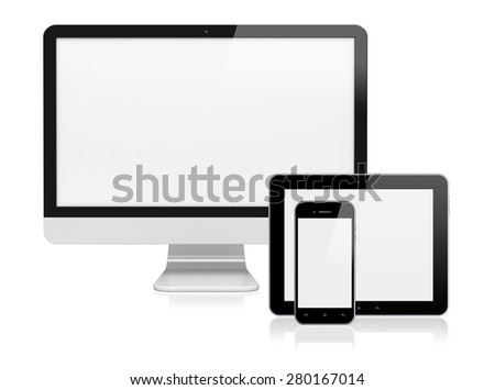 Computer monitor, tablet pc, and mobile smartphone with a blank screen. Isolated on a white. 3d image 	 - stock photo