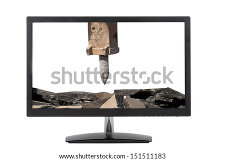 computer monitor Vs. jackhammer arm isolated on white background