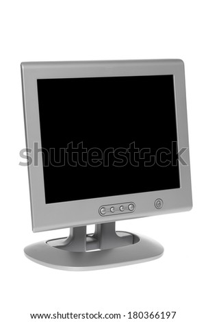 Computer monitor with black screen on white background