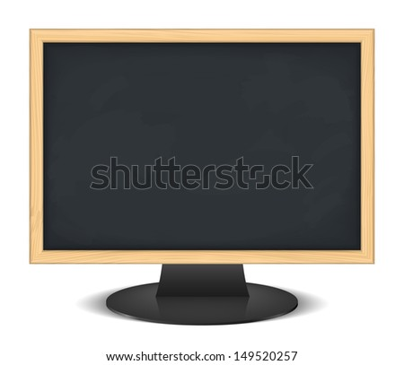 Computer monitor with blackboard instead of screen, e-learning concept