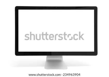 computer monitor with blank screen isolated on white