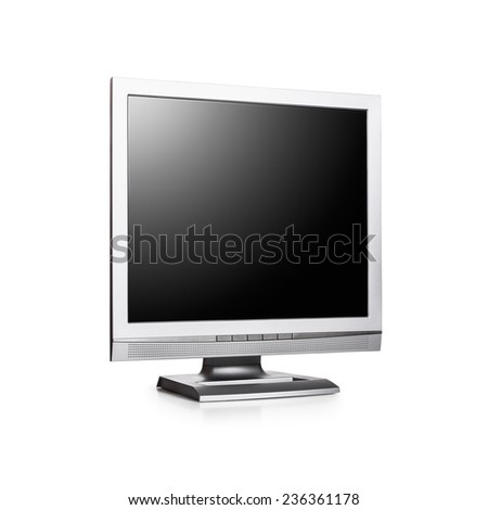 Computer monitor with blank screen on white background. Copy space. Object with clipping path - stock photo