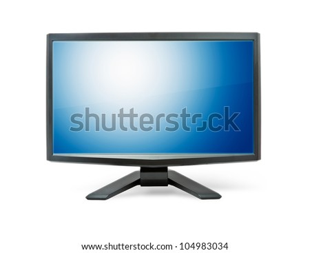 Computer monitor with blue flat wide screen isolated on white - stock photo