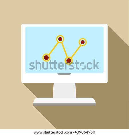 Computer monitor with business graph icon - stock photo