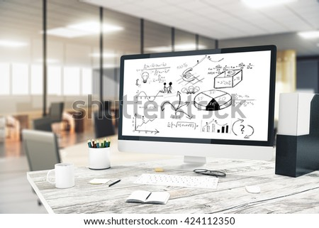 Computer monitor with business scheme on wooden desktop in office. 3D Rendering - stock photo