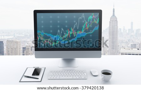 computer monitor with graph, keyboard, mouse, cup of coffee, smartphone, notepad and pen in front, office with panoramic view of new york at the back, concept of business, 3D rendering, front view