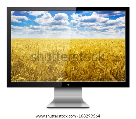 Computer Monitor with wheat field screen. Isolated on white background. - stock photo