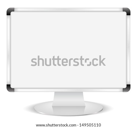 Computer monitor with whiteboard instead of screen, e-learning concept - stock photo