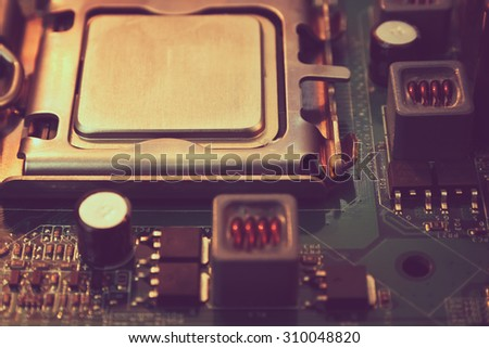 computer motherboard, abstract background, process color. - stock photo