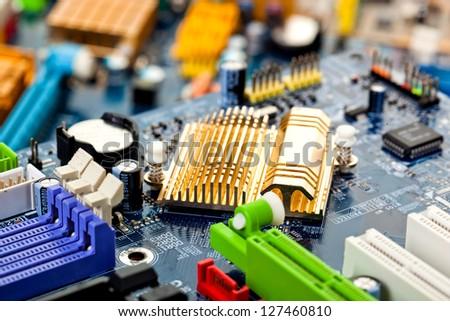 Computer motherboard closeup - stock photo
