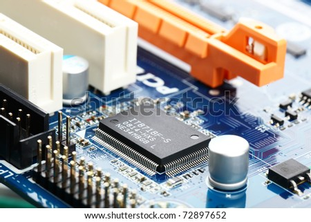 Computer motherboard closeup - stock photo