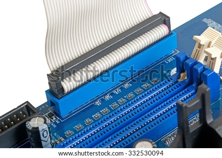 computer motherboard, electronic components on circuits board - stock photo