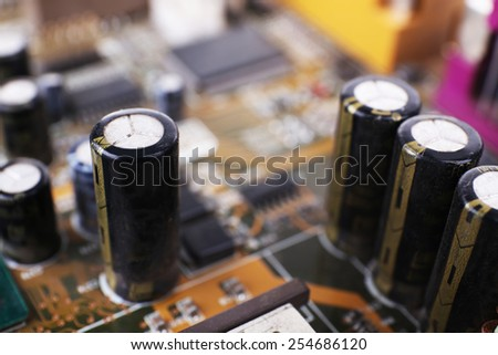 Computer motherboard, macro view - stock photo
