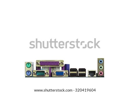 computer motherboard port  connectors , isolated on white background - stock photo